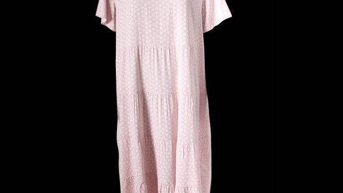 Daisy Print Tiered Summer Dress -Pink