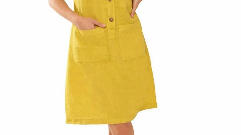Lime Safari Pocket Linen Dress