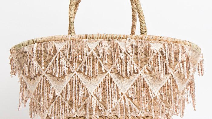 Ibiza Silver Tassel Summer Bag Rose Gold