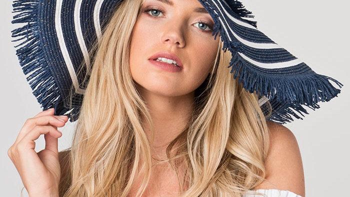 Large Brim Straw Summer Hat with Navy & White Stripes