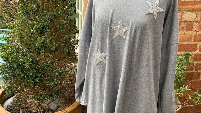 Grey 3 Sequin  Star Cotton Hoodie