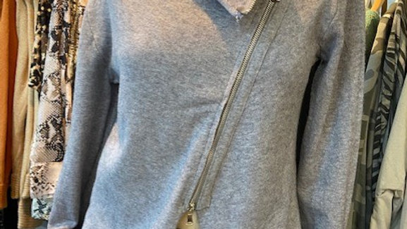 Asymetric Short Zip Cardigan