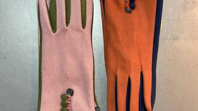 Soft Faux Suede Multi Colour Button Glove