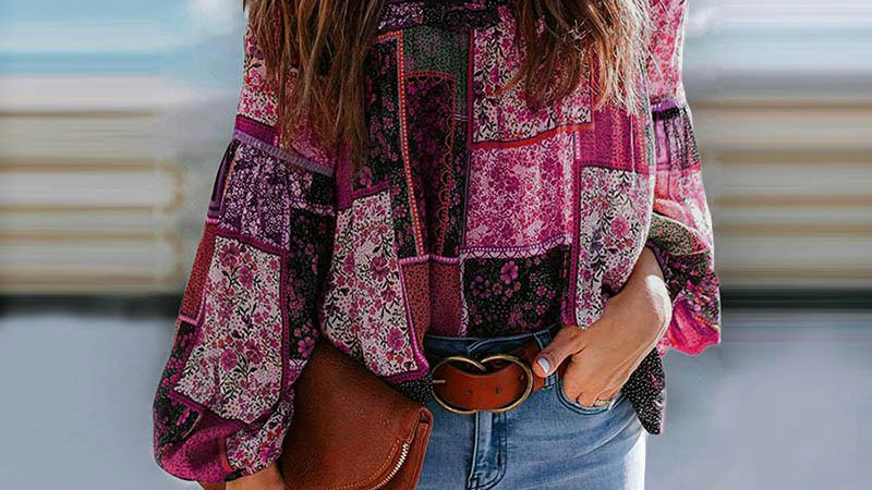 Boho Pink Patchwork Blouse With Puff Sleeves