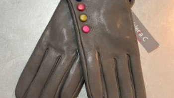 Real Leather Grey Glove Multi-Coloured Buttons