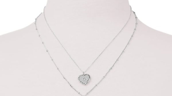 Silver Necklace with Heart & Hoop Charm