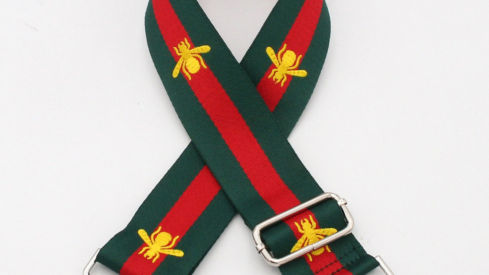 Green & Red Stripe with Gold Bee Bag Straps