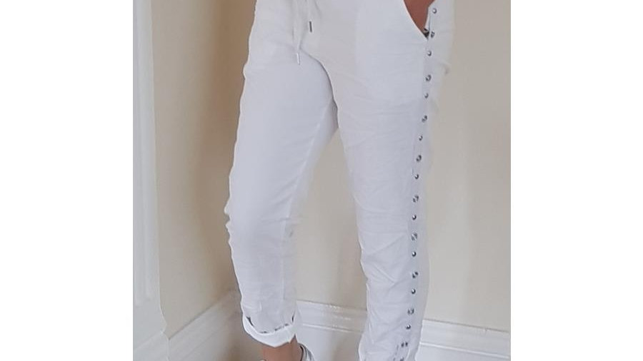 White Lounge Trousers with Side Studding