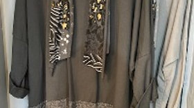 Tunic with Animal Print trim and scarf