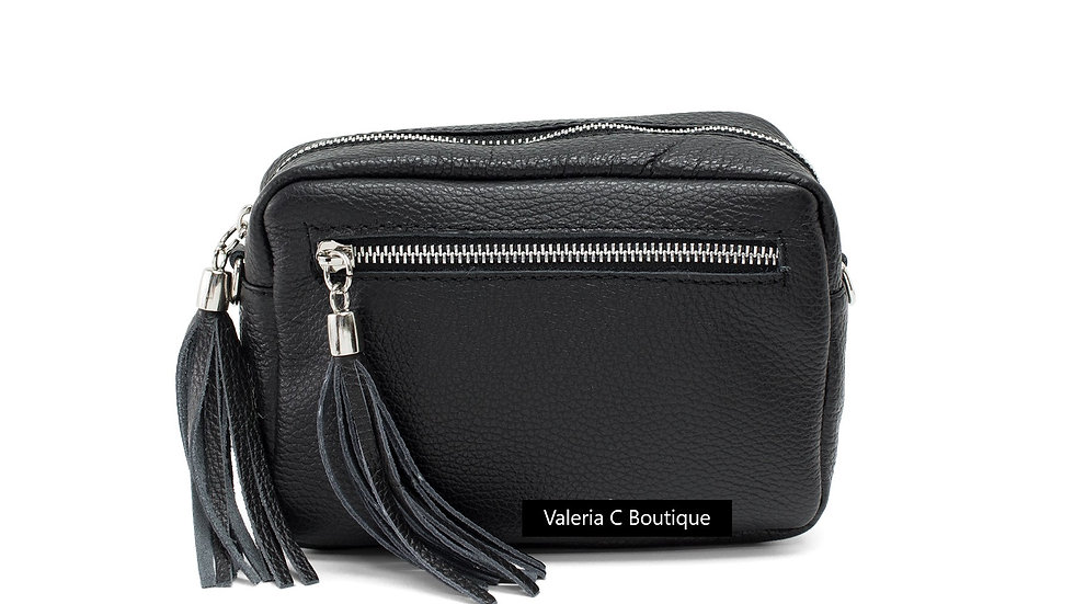Real Leather Crossbody  Bag With Tassels  - Black