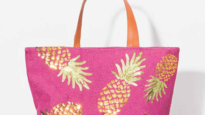 Gold Pineapple Tote Bag in Fuschia Pink
