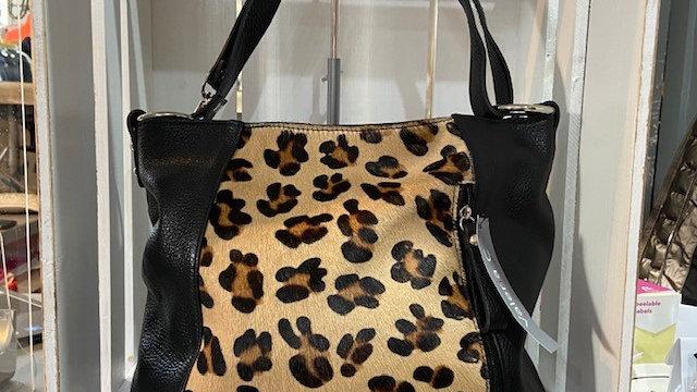 Real Leather Animal Print Black Handbag
