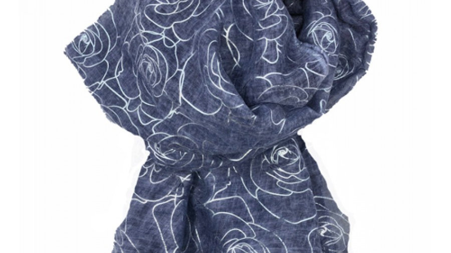 Denim Blue Scarf with Silver Flower