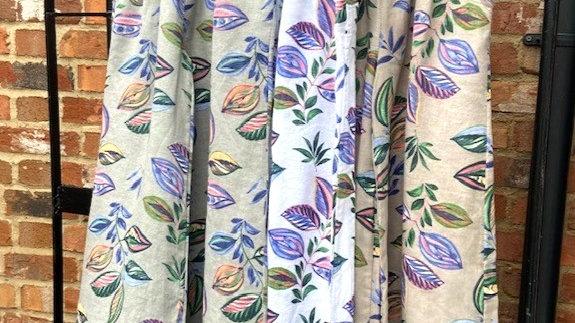 Leaf Print Linen Trousers
