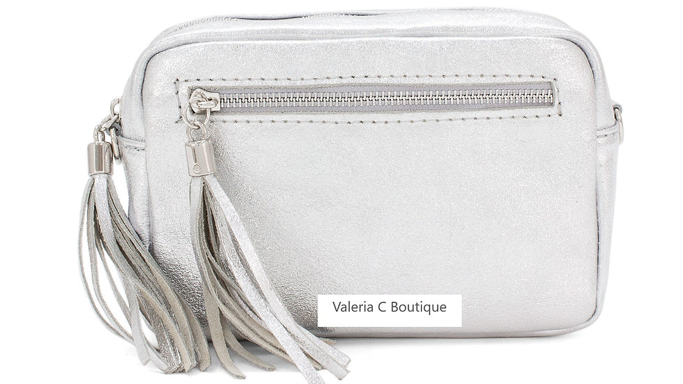 Real Leather Crossbody  Bag With Tassels  - Metallic Silver