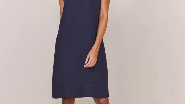 Navy Plain Linen Dress