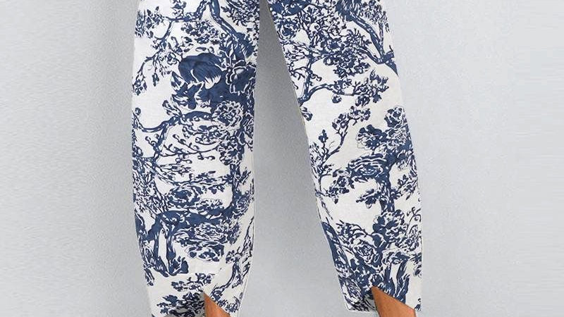 Cotton Crop Harem Trousers in Navy and White Pattern