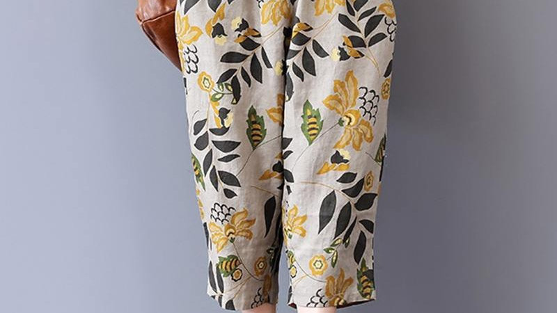 Beige Cotton Crop Harem Trousers in Mustard and Moss Green Leaftern
