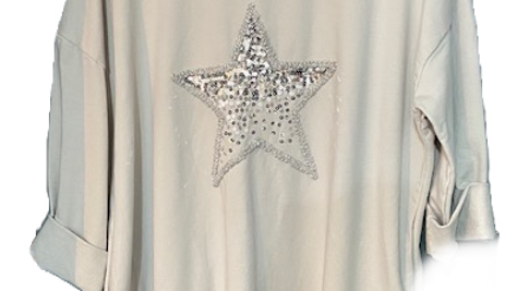 Cotton Long Tunic with Sequin Star