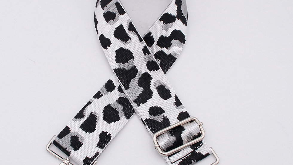 Black White & Grey Leopard Animal Print Bag Straps