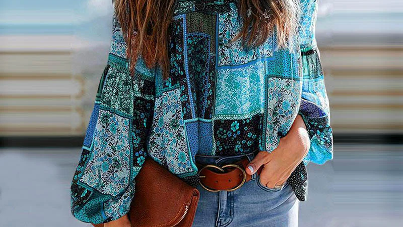 Boho Blue Patchwork Blouse With Puff Sleeves