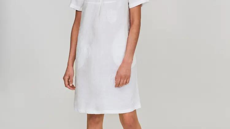 White Embroidered Linen Dress