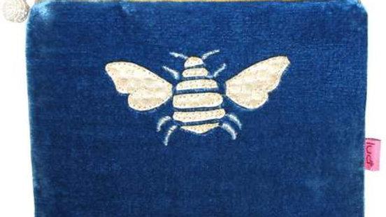 Blue Velvet Bee Coin Purse