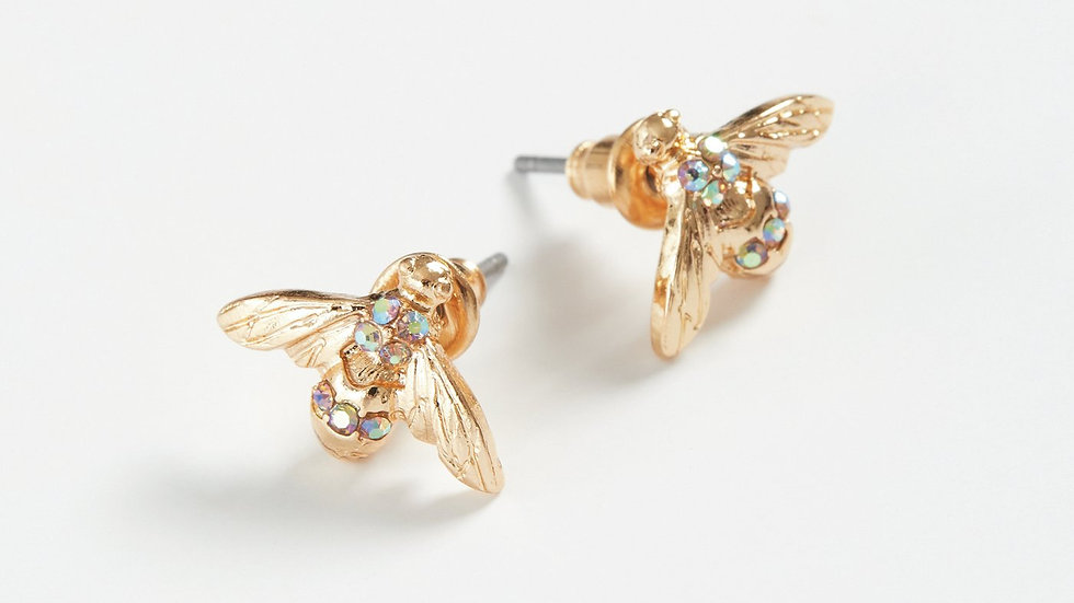 Gold Pave Bee Earrings