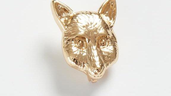 Gold Fox Head Brooch
