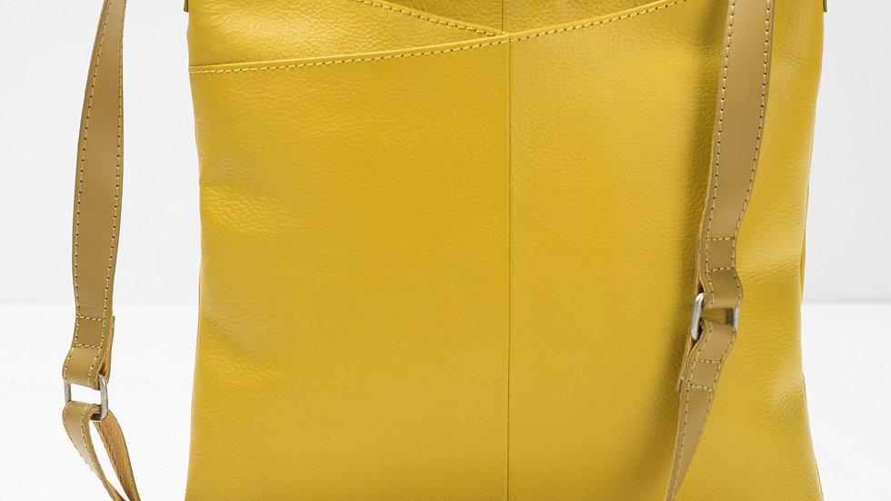 Real Leather Mustard Crossbody Bag