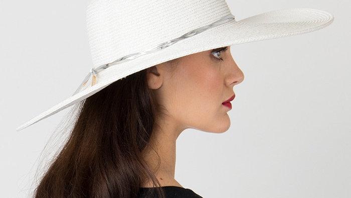Wide Brim Classic White Summer Hat