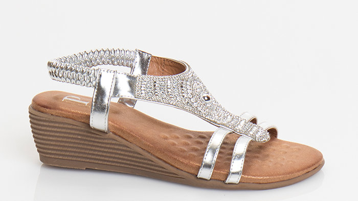Greek Design Low Wedge Sandal Silver