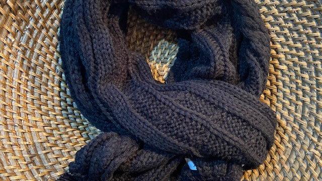 Cable Knit Scarf with Faux Fur Pom Pom