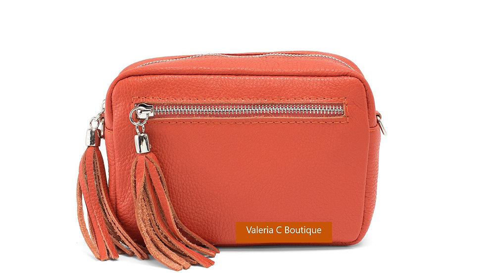 Real Leather Crossbody  Bag With Tassels  - Orange