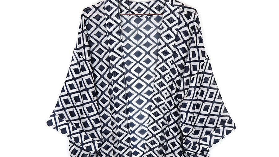 Navy & White Geometric Jacket Kimono