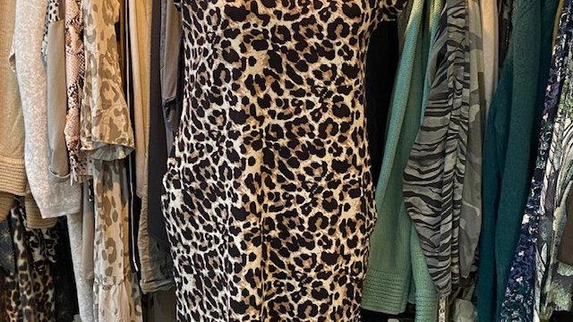 Animal Print Short Sleeved Dress