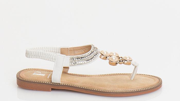 Ibiza White Thong Sandal