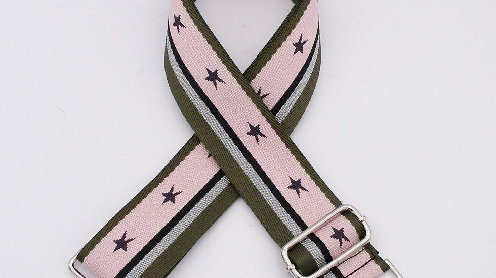 Olive Green/Pink, Stars &Stripes Bag Straps
