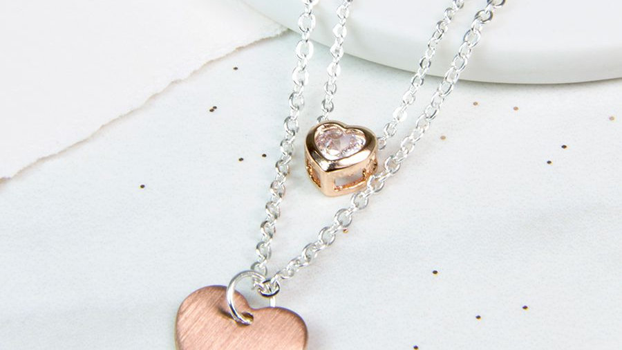 Silver Plated Double Chain Heart Necklace