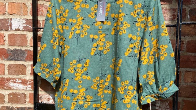 Sage Green 3/4 Sleeve with Mustard Floral Print Box Blouse