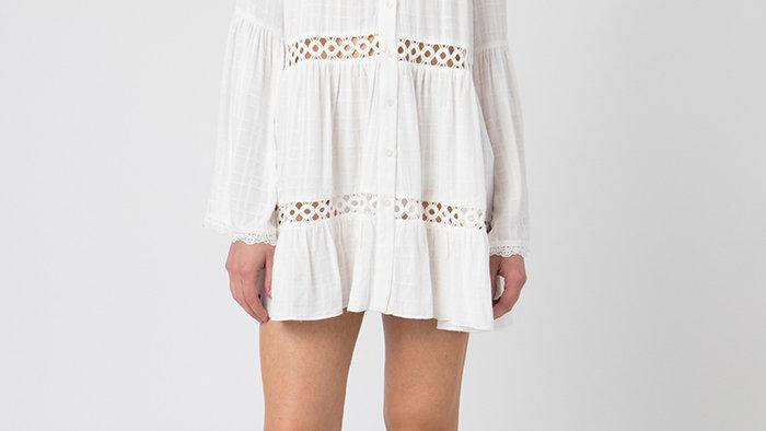 Bell Sleeved White Short Cover Up