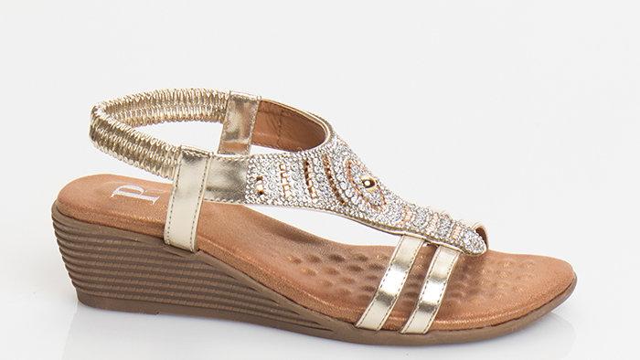 Greek Design Low Wedge Sandal Gold/Silver