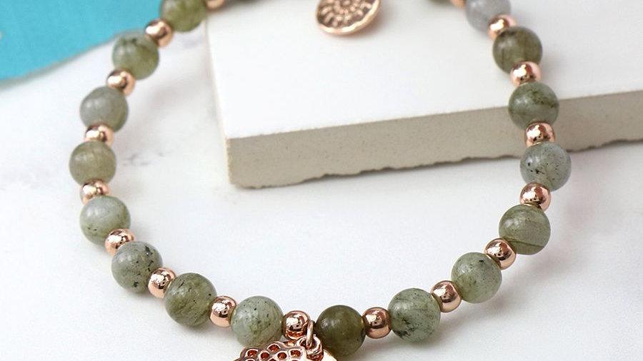 Boho Labradorite Bead Bracelet with Rose Gold Mandala Charm