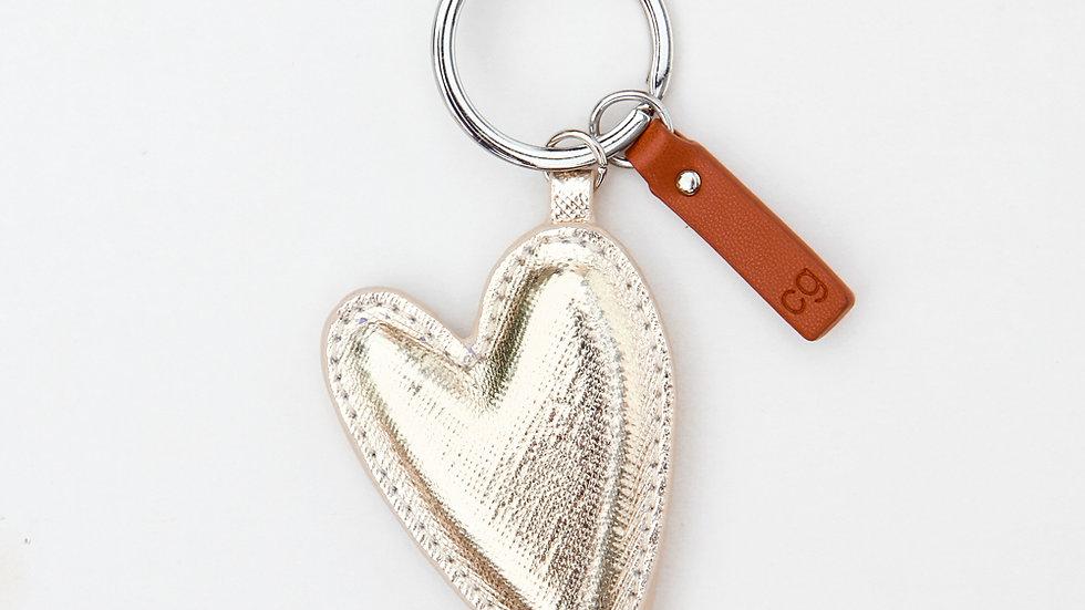Light Gold Heart Key Ring