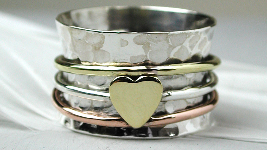 Silver Ring with Copper & Brass Heart Spinning Ring
