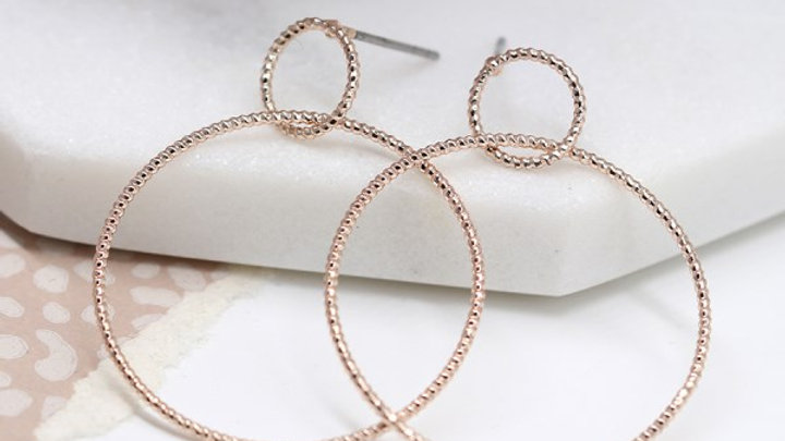 Rose Gold Plated Double Hoop Stud Earring