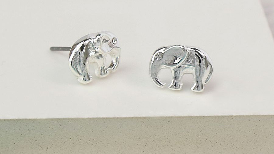 Silver Plated Stud Elephant Earrings