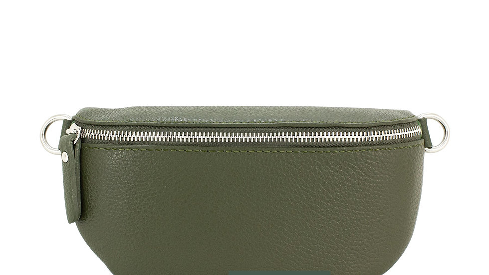 Real Leather Belt Bag - Olive Green