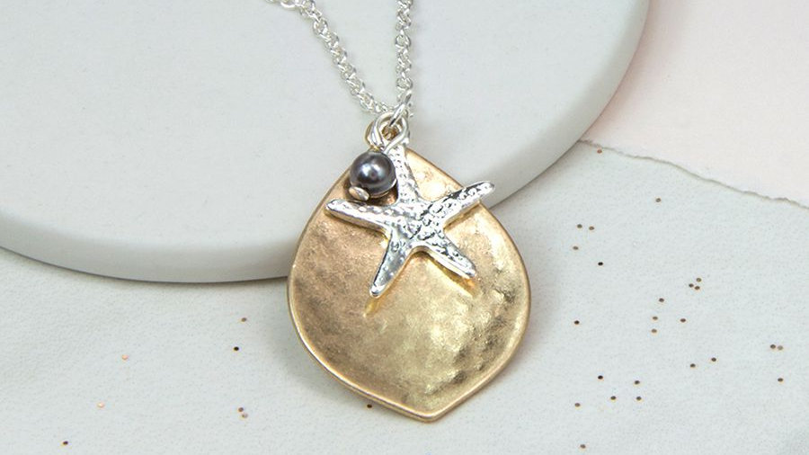 Silver Plated Leaf with Starfish and Grey Pearl Necklace