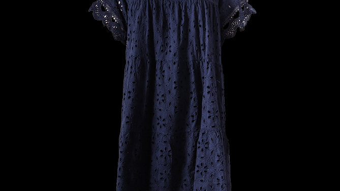 Navy Embroidery Short Cotton Summer Dress/Tunic